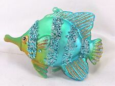 Fish Ornament Colorful Glass w/ Sparkles Holiday or Home Decor B