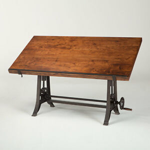"62"" L Drafting desk crank table solid wood top iron base industrial design"