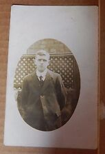 Postcard Young Man in his garden suit and tie Early 20th C RPPc unposted