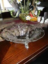 Vintage Cambridge Etched 3-Toed Centerpiece~Console Bowl~Butterflies~Birds