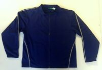 Vtg Prince Tennis Jacket Navy Blue Zippered Runners Silver Reflective Trim Sz L