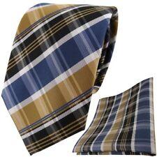 TigerTie DESIGNER Krawatte Einstecktuch Gold blau silbergrau braun gestreift