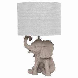 Table Lamp Grey Resin Elephant Animal Shape With Fabric Shade Design Hathi