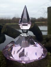 Pink Cut Crystal Perfume/Oil Bottle with Screw Top & Glass Wand Art Deco Style