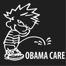 Calvin Peeing Pissing on OBAMA CARE Funny Car Auto Window Bumper Sticker Decal