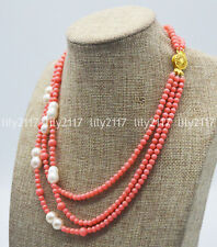 White Baroque Pearl Gemstone Bead Necklace Natural 3Rows 4mm Pink Coral &10x15mm