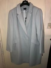 Ex M*S Double Breasted Plus Size Overcoat Coat Dusty Blue Size 24