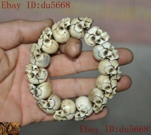 Tibetan tara Skeleton Devil Skull death-head statue amulet Bracelet Hand chain