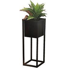 Black Square Metal Flower Pot On A Stand Raised Indoor Garden Plant Pot 50 cm