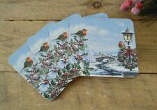 4 Traditional Christmas Snow Robin Square Drinks Mats Set Tea Coffee Coasters