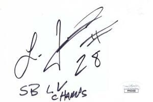 LEONARD FOURNETTE Signed SB LV Champs 5x6 Index Card   JSA PP40468