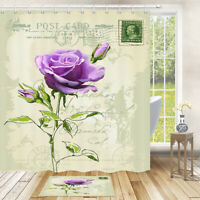 Purple Rose Flower Old Postcard Bath Mat Fabric Bath Shower Curtain Multi Size