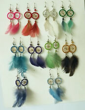 Lot of 90 pairs of Dream Catcher Thread Earrings with Feather. Handmade in Peru