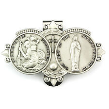 Visor Clip St Christopher & Our Lady Highway Medals Pewter Vintage Car Catholic