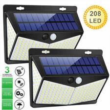 2 Packs 208LED Solar Lamp Light PIR Motion Sensor Outdoor Wall Waterproof Garden