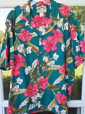 Paradise Found Short Sleeve Cotton Green Floral Hawaiian Camp Shirt Made in USA