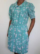 TRUE VINTAGE turquoise green spotty polka dot 100% Cotton collar dress size 16