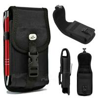 For iPhone 8 Plus 7 / X XR MAX Heavy Duty Buckle Nylon Pouch Belt Clip - Black