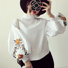 Women Retro Puff Sleeve Shirt Top Ruffle Collar Embroidered Floral Blouse New