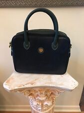 AUTHENTIC VTG LA TOUR EIFFEL Paris 1887 NavyBlue/Green Leather Handbag Purse