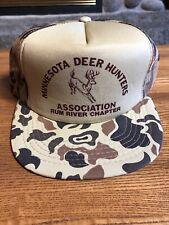 Vintage Minnesota Camo Deer Hunting Trucker Mesh Snapback Hat Buck 1980's 🌲🌲🌲