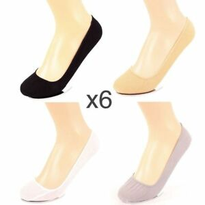 6 Pairs Womens Liner Socks No Show Peds Boat Ballet Plain Footies Cotton Low