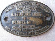 RARE Antique Old Brass German Steam Locomotive Train Builders Plate Sign 1910's
