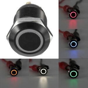 4 Pin 12mm LED Light Metal Car Push Button Momentary Switch Waterproof Universal