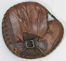 Vintage Leather Catchers Mitt with Buckle Baseball Glove