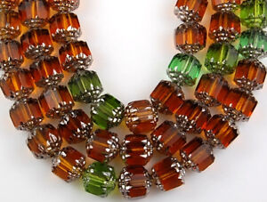25pcs Mix Green Topaz Olive Cathedral Fire Polished Faceted Glass Beads 8mm