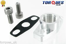 "GT / T25 / T28 Garrett Turbo Billet Oil Return Flange 1/2"" NPT + Bolts + Gasket"
