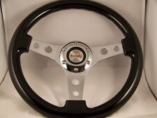 "13"" Black Steering wheel 3 Spoke chrome holes center for GM Chevy 1969 - 2007"