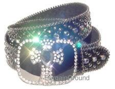 Black Rhinestone Bling Crystal Cross Croco Leather Buckle Belt L ML