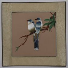 """Chinese Suzhou embroidery painting birds flowers 15x15"""" hand-made art for lover"""