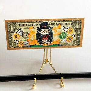 Hand-painted Authentic US Dollar Bill Pop Art | Cryptocurrency x Mr Monopoly