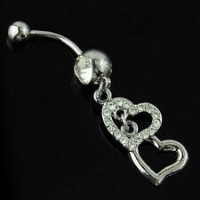 (88-17)  Bauchnabelpiercing  Piercing Stecker Doppelherz Zwei Herzen Silber