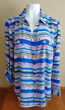 Relativity Women's Size XL Striped Shirt Top Blouse Button Tab Sleeves NEW