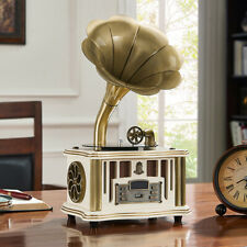 Mini Double Track Gramophone Bluetooth Stereo Phonograph Player FM w/Remote US