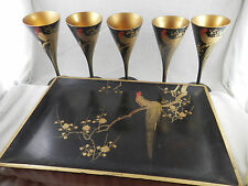 Vintage Russian Black Lacquer & Gold  Wood Goblets & Tray  5 glasses