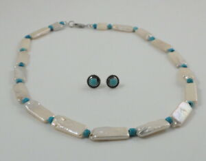 White BIWA Pearl Turquoise Necklace & Sterling Silver Turquoise Stud Earrings