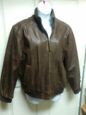 Men's Jos. A. Bank Brown Leather Bomber Jacket Size L