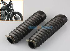 Motorcycle Fork Cover Gaiters Gators Boots Black Shock For Harley Yamaha Norton