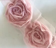 Cream White Pink Red 8 Yards 3D Rosette Rose Flower Lace Trim Bridal Doll
