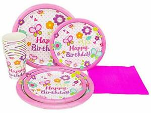 Perfect Settings Disposable Tableware Happy Birthday Plate Party Set Pink But...