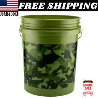 5 Gallons Pail Bucket Camouflage Multipurpose Resin Bin Foam Handle New Camo