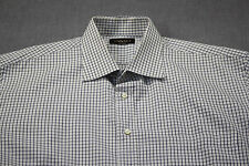 CANALI Made in Italy Mens White w Blue Checker Short Sleeve Dress Shirt 18 - 46