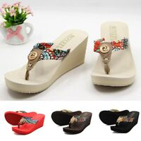 Summer Women Wedge Sandals Bohemia Floral Thong Flip Flops Platform Slippers New