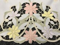 """Large Rectangular 72x144"""" Embroidered Embroidery Lace Cutwork Tablecloth Napkin"""