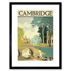 Travel Tourism Cambridge England Cam Punt Bridge Framed Wall Art Print