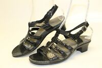 SAS USA Made Womens 11 M Black Leather Sandals Heels Comfort Shoes